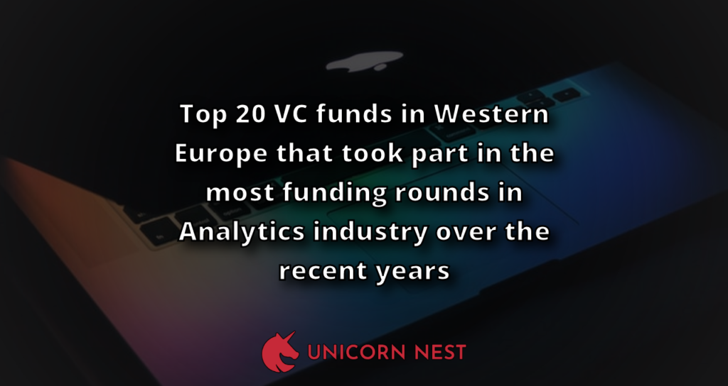 Top 20 VC funds in Western Europe that took part in the most funding rounds in Analytics industry over the recent years