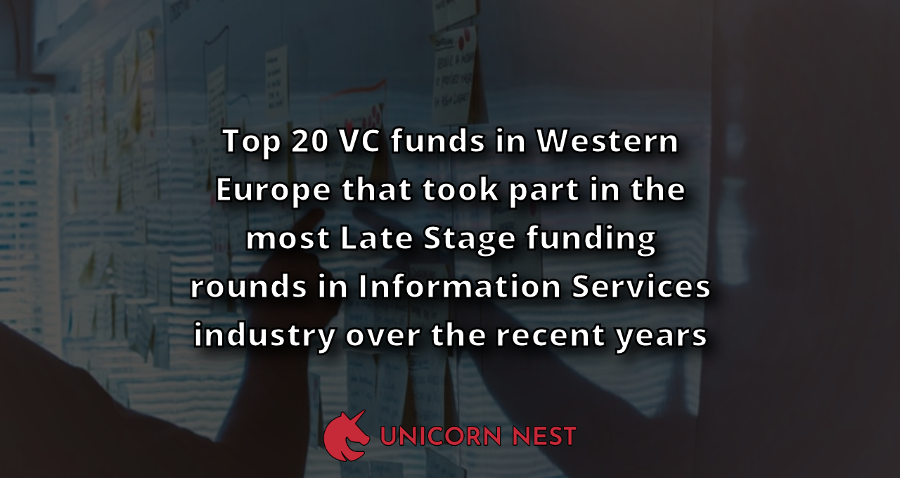 Top 20 VC funds in Western Europe that took part in the most Late Stage funding rounds in Information Services industry over the recent years