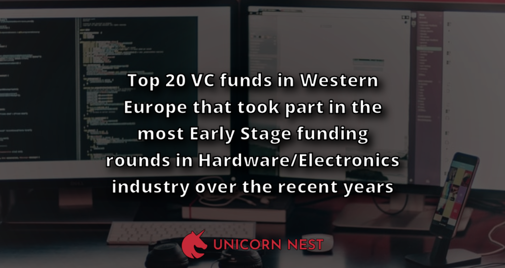 Top 20 VC funds in Western Europe that took part in the most Early Stage funding rounds in Hardware/Electronics industry over the recent years