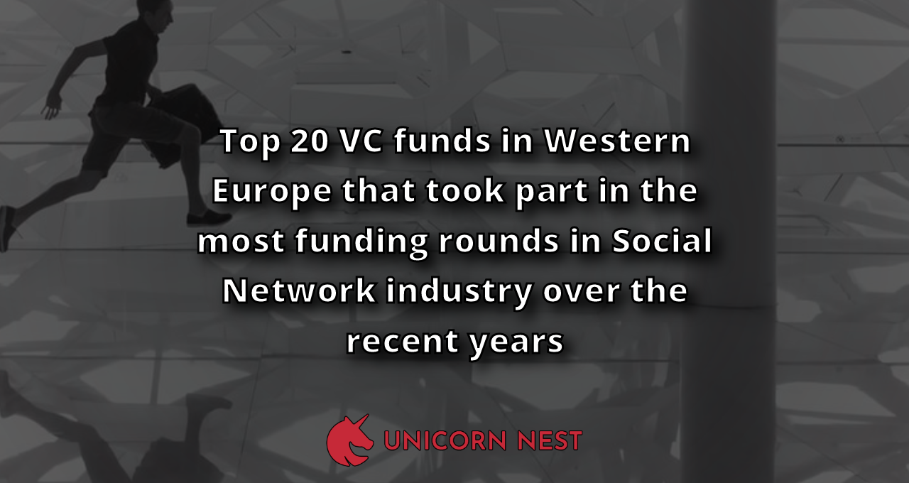 Top 20 VC funds in Western Europe that took part in the most funding rounds in Social Network industry over the recent years