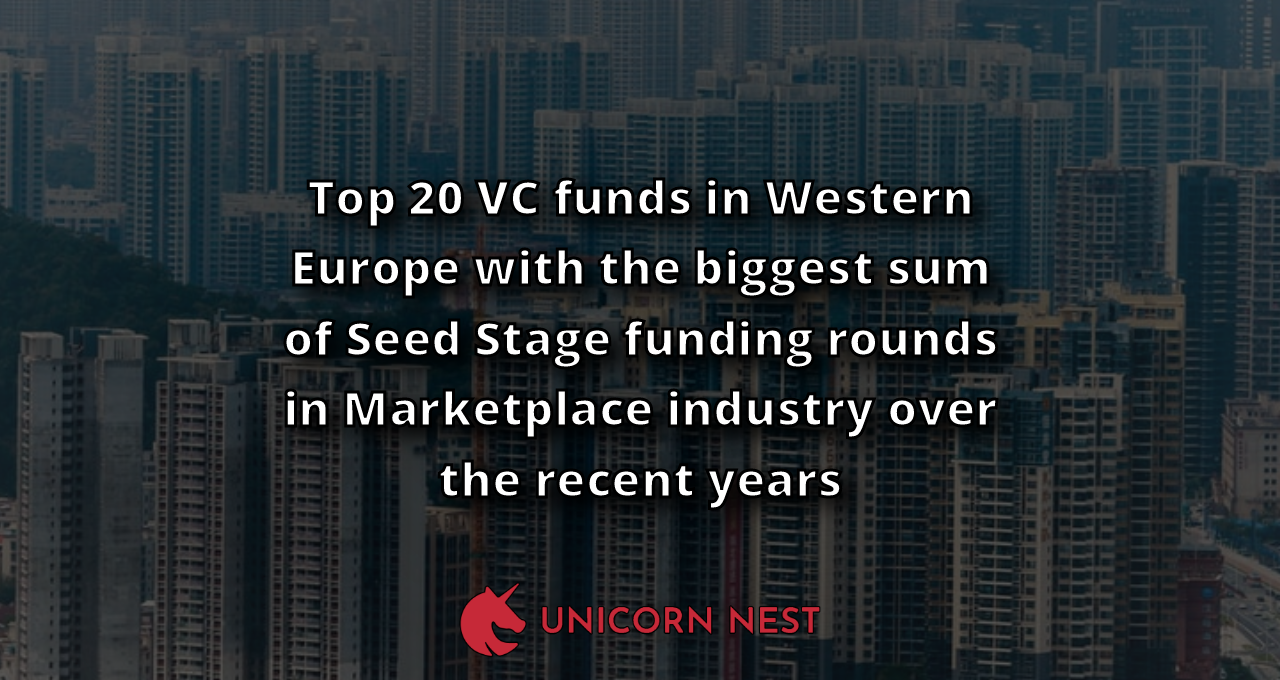 Top 20 VC funds in Western Europe with the biggest sum of Seed Stage funding rounds in Marketplace industry over the recent years