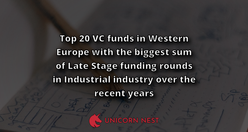 Top 20 VC funds in Western Europe with the biggest sum of Late Stage funding rounds in Industrial industry over the recent years