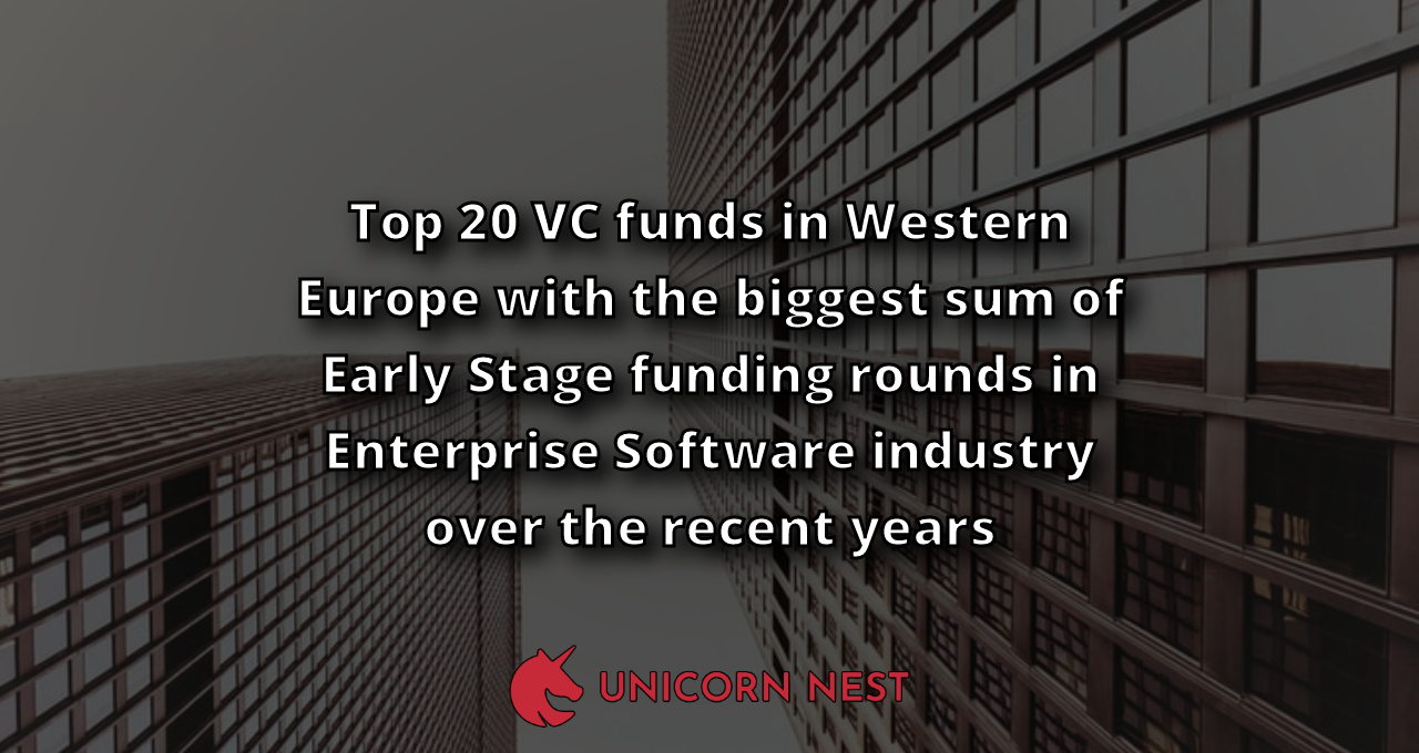 Top 20 VC funds in Western Europe with the biggest sum of Early Stage funding rounds in Enterprise Software industry over the recent years