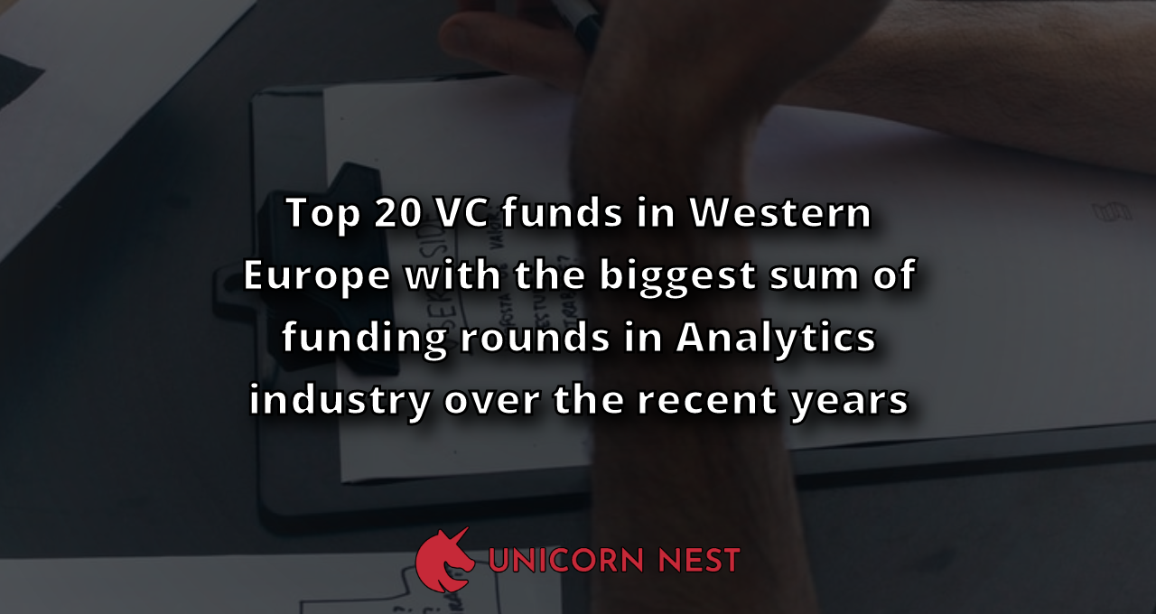 Top 20 VC funds in Western Europe with the biggest sum of funding rounds in Analytics industry over the recent years
