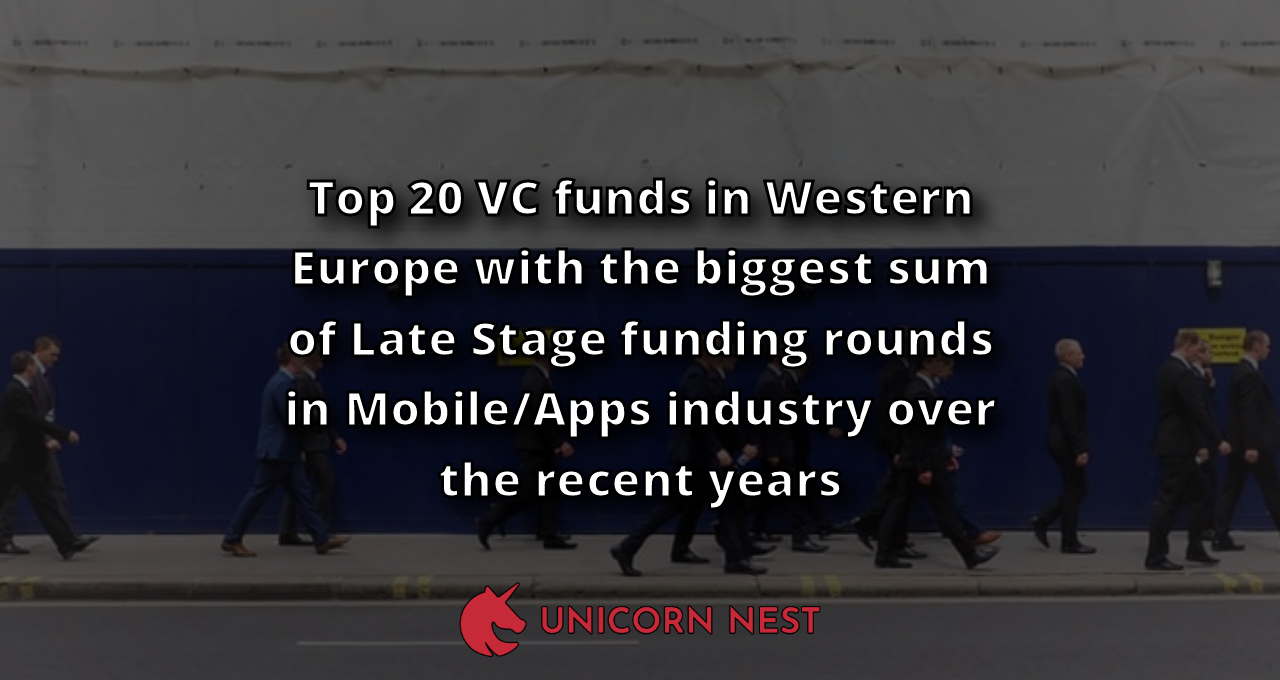Top 20 VC funds in Western Europe with the biggest sum of Late Stage funding rounds in Mobile/Apps industry over the recent years