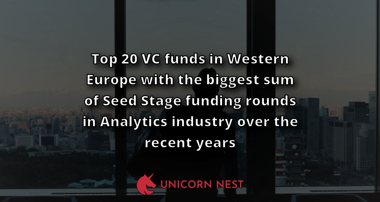 Top 20 VC funds in Western Europe with the biggest sum of Seed Stage funding rounds in Analytics industry over the recent years