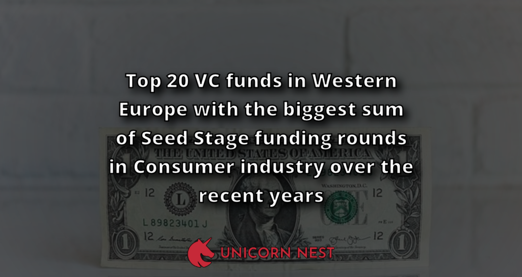 Top 20 VC funds in Western Europe with the biggest sum of Seed Stage funding rounds in Consumer industry over the recent years