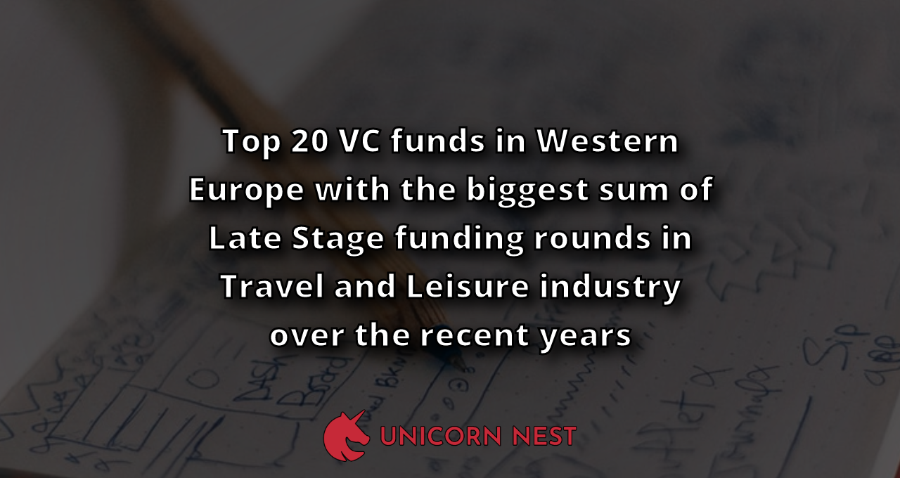 Top 20 VC funds in Western Europe with the biggest sum of Late Stage funding rounds in Travel and Leisure industry over the recent years