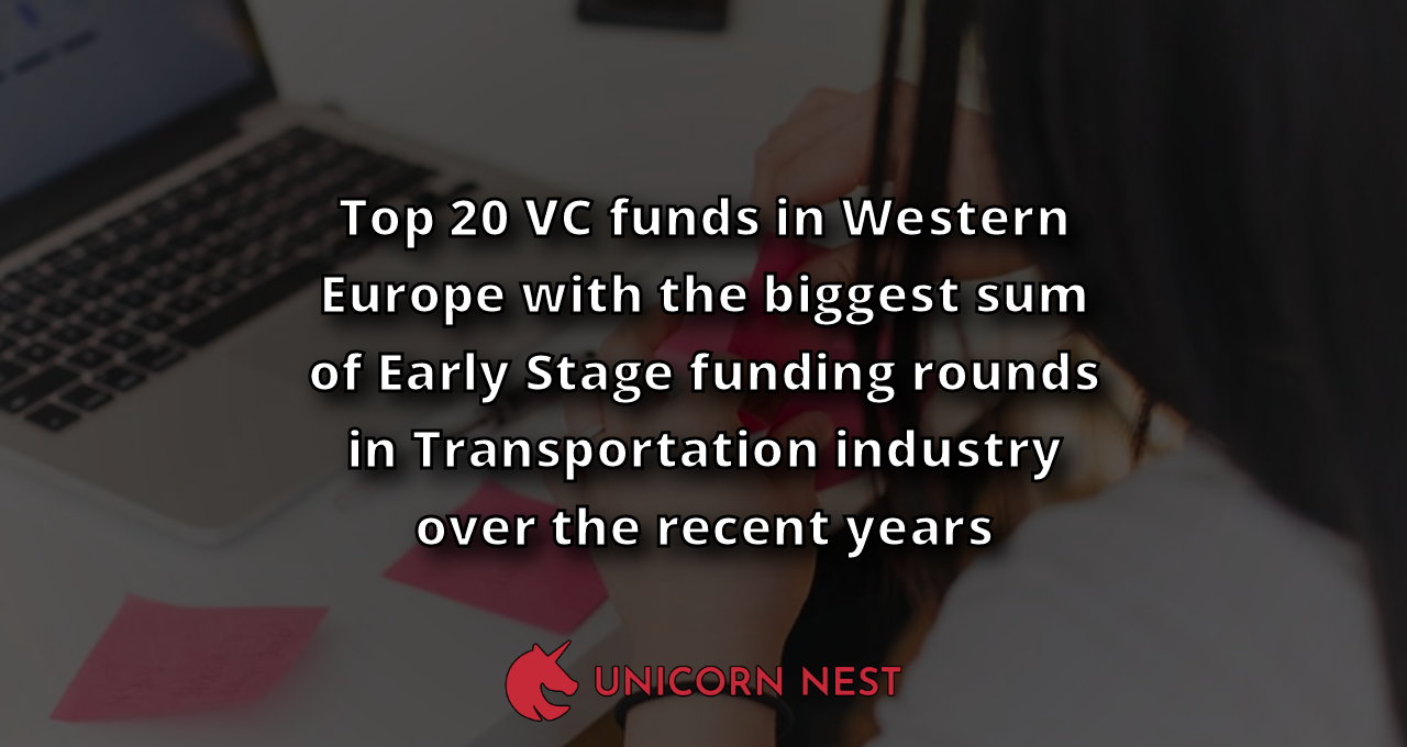 Top 20 VC funds in Western Europe with the biggest sum of Early Stage funding rounds in Transportation industry over the recent years