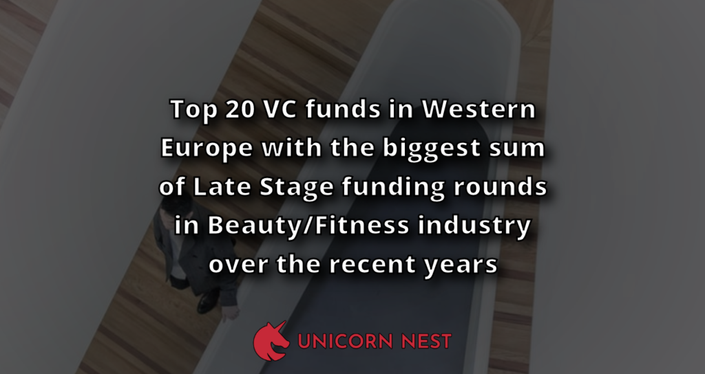 Top 20 VC funds in Western Europe with the biggest sum of Late Stage funding rounds in Beauty/Fitness industry over the recent years