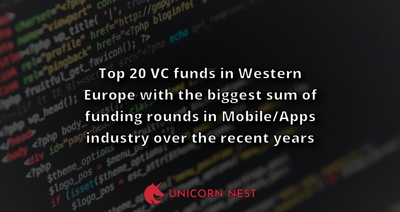 Top 20 VC funds in Western Europe with the biggest sum of funding rounds in Mobile/Apps industry over the recent years