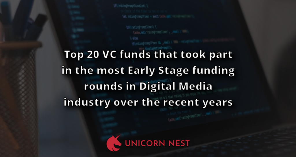 Top 20 VC funds that took part in the most Early Stage funding rounds in Digital Media industry over the recent years
