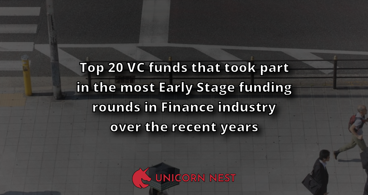 Top 20 VC funds that took part in the most Early Stage funding rounds in Finance industry over the recent years