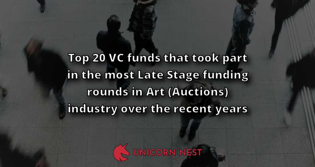 Top 20 VC funds that took part in the most Late Stage funding rounds in Art (Auctions) industry over the recent years