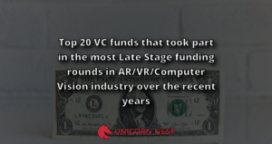 Top 20 VC funds that took part in the most Late Stage funding rounds in AR/VR/Computer Vision industry over the recent years