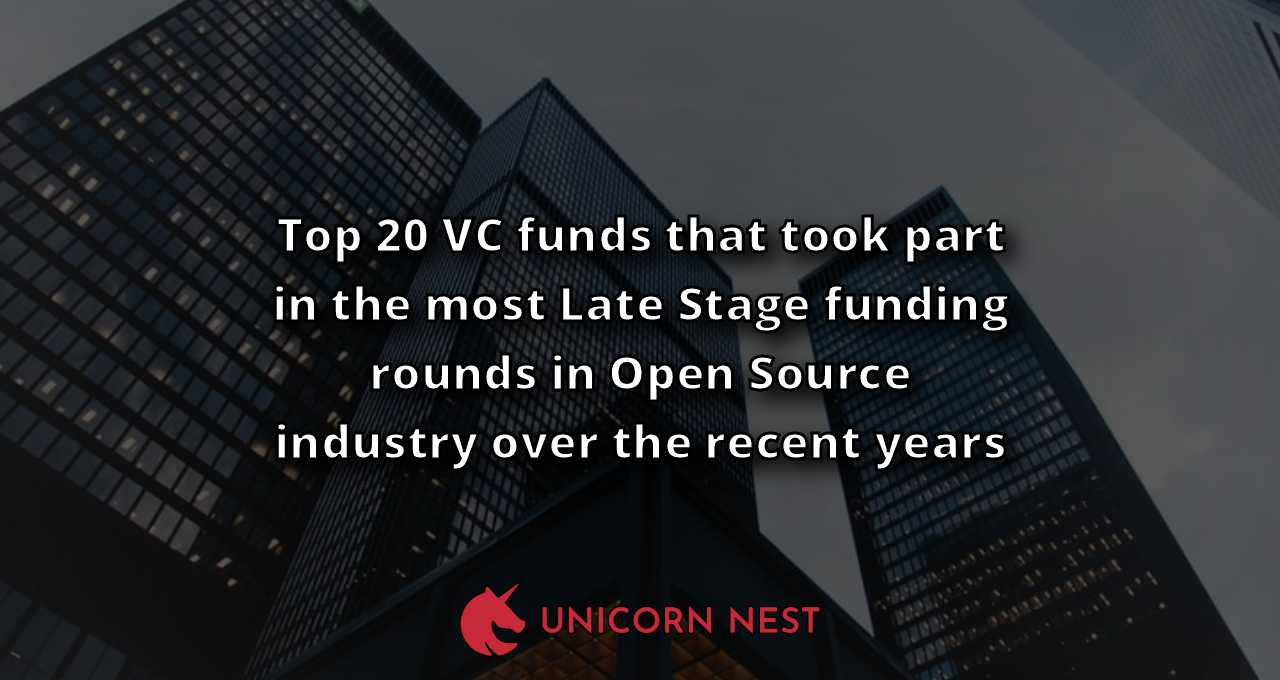 Top 20 VC funds that took part in the most Late Stage funding rounds in Open Source industry over the recent years