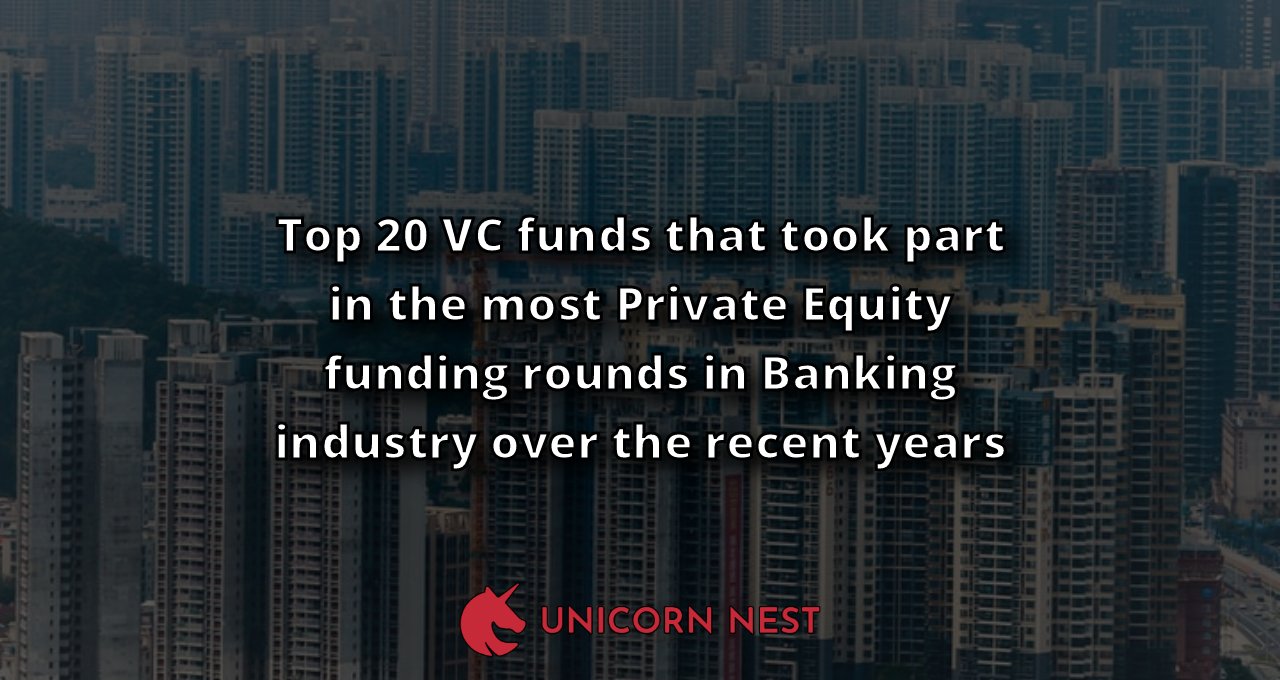 Top 20 VC funds that took part in the most Private Equity funding rounds in Banking industry over the recent years
