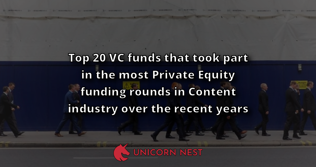 Top 20 VC funds that took part in the most Private Equity funding rounds in Content industry over the recent years