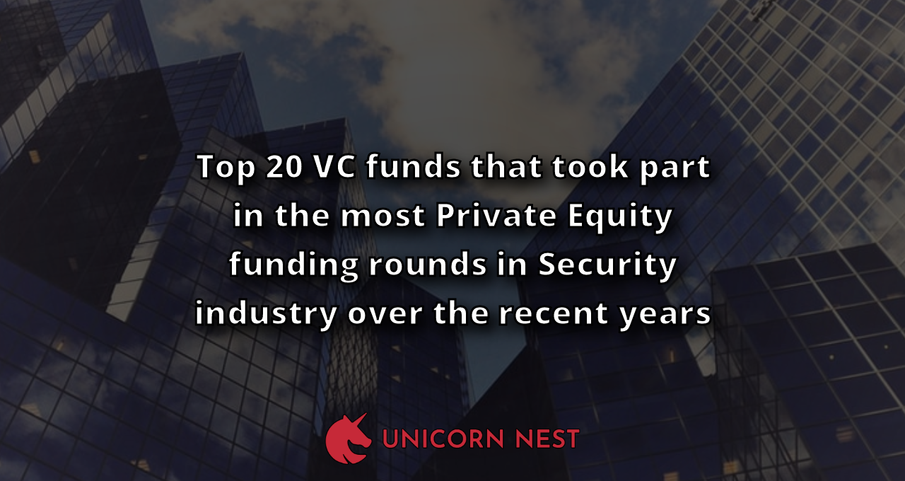 Top 20 VC funds that took part in the most Private Equity funding rounds in Security industry over the recent years