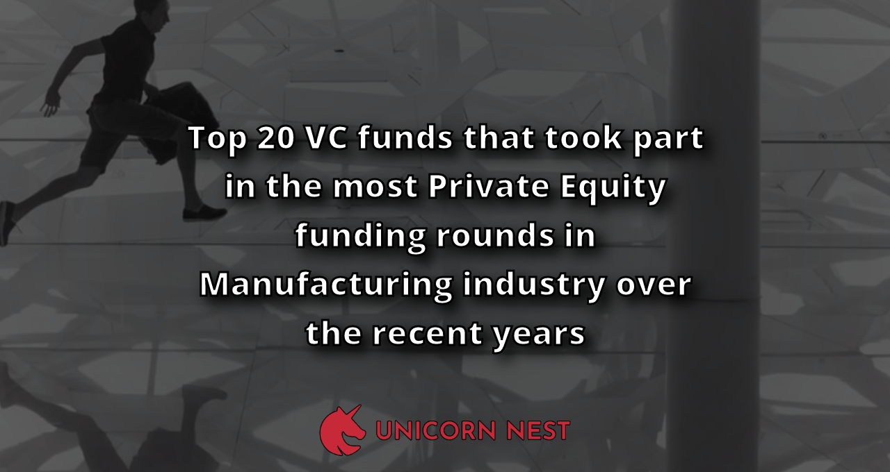 Top 20 VC funds that took part in the most Private Equity funding rounds in Manufacturing industry over the recent years