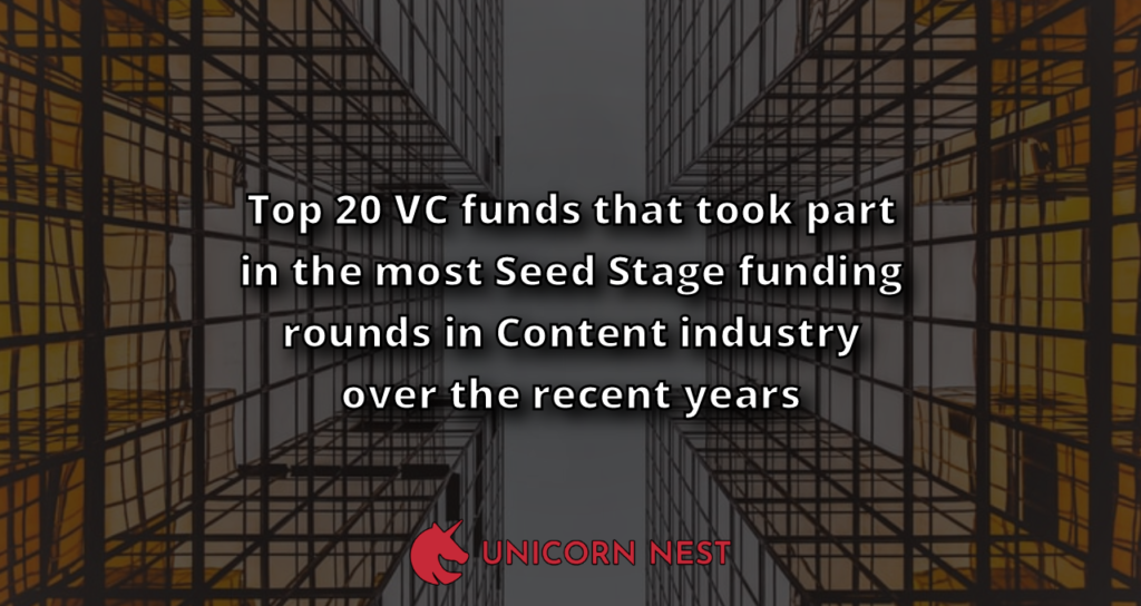 Top 20 VC funds that took part in the most Seed Stage funding rounds in Content industry over the recent years