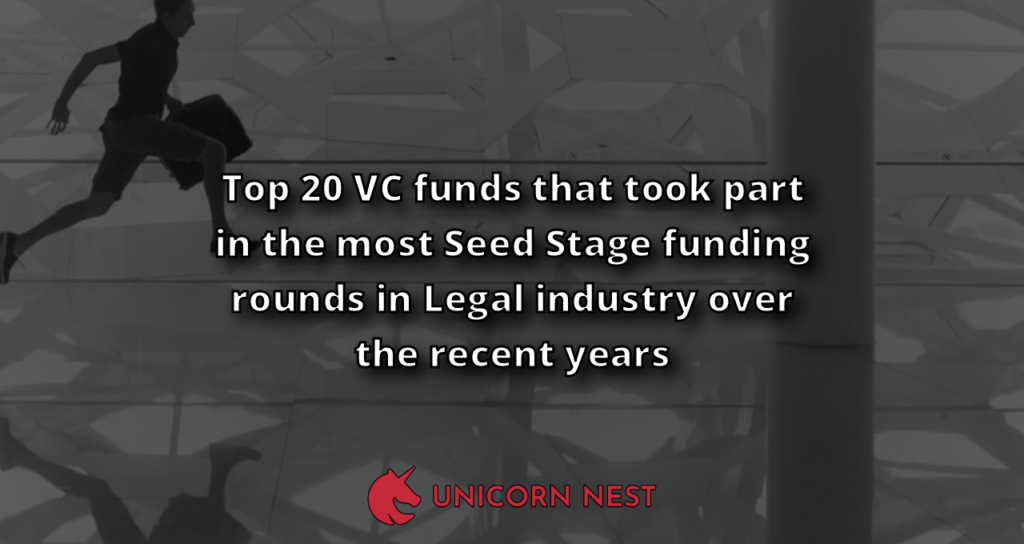 Top 20 VC funds that took part in the most Seed Stage funding rounds in Legal industry over the recent years