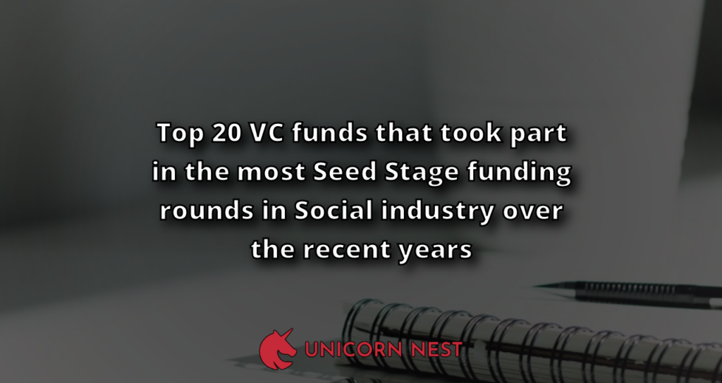 Top 20 VC funds that took part in the most Seed Stage funding rounds in Social industry over the recent years