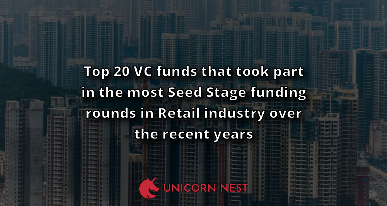 Top 20 VC funds that took part in the most Seed Stage funding rounds in Retail industry over the recent years