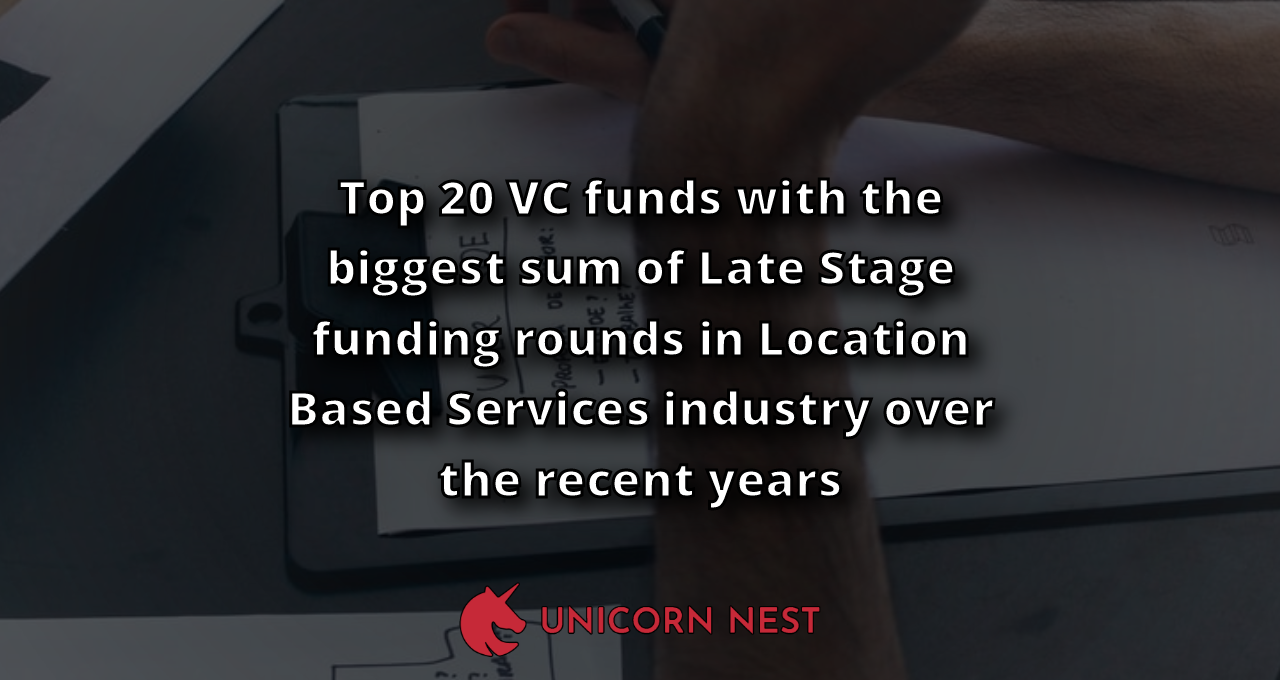 Top 20 VC funds with the biggest sum of Late Stage funding rounds in Location Based Services industry over the recent years