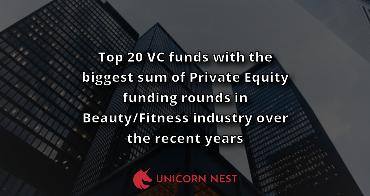Top 20 VC funds with the biggest sum of Private Equity funding rounds in Beauty/Fitness industry over the recent years