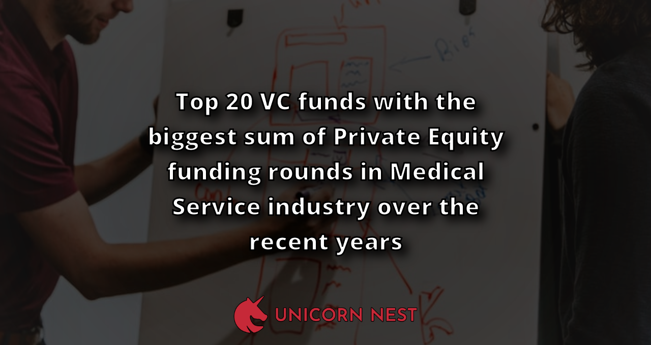 Top 20 VC funds with the biggest sum of Private Equity funding rounds in Medical Service industry over the recent years