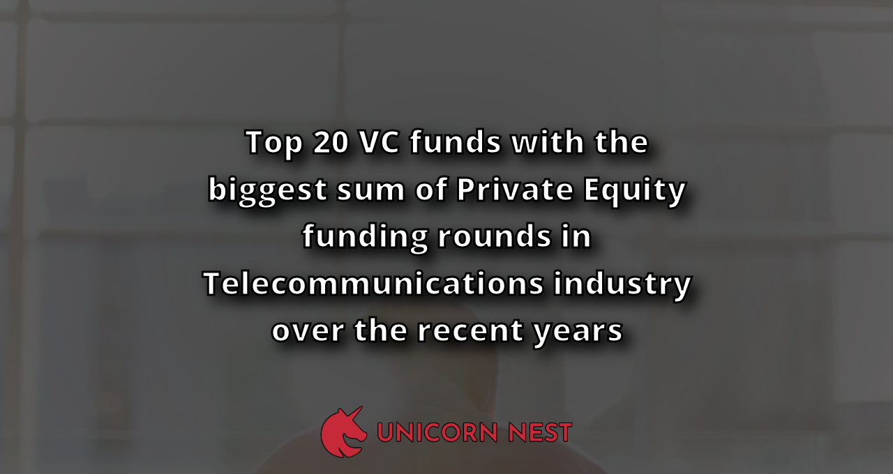 Top 20 VC funds with the biggest sum of Private Equity funding rounds in Telecommunications industry over the recent years