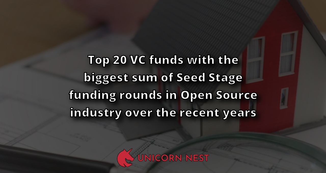 Top 20 VC funds with the biggest sum of Seed Stage funding rounds in Open Source industry over the recent years