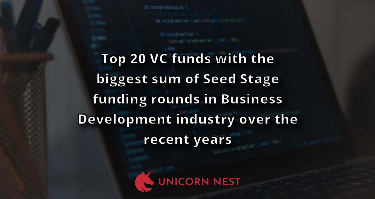 Top 20 VC funds with the biggest sum of Seed Stage funding rounds in Business Development industry over the recent years