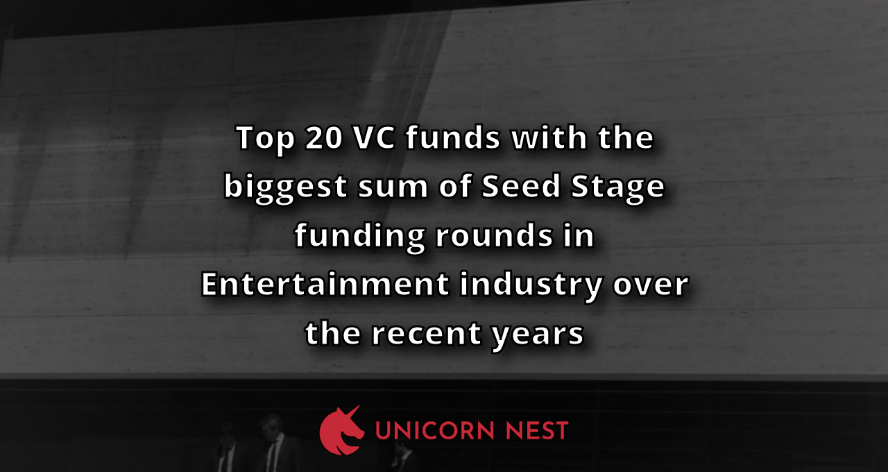 Top 20 VC funds with the biggest sum of Seed Stage funding rounds in Entertainment industry over the recent years