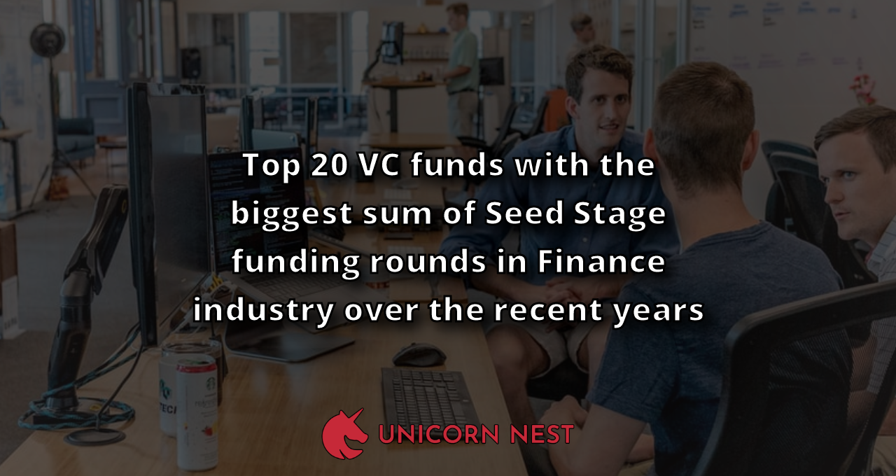 Top 20 VC funds with the biggest sum of Seed Stage funding rounds in Finance industry over the recent years