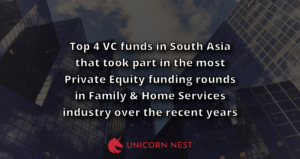 Top 4 VC funds in South Asia that took part in the most Private Equity funding rounds in Family & Home Services industry over the recent years