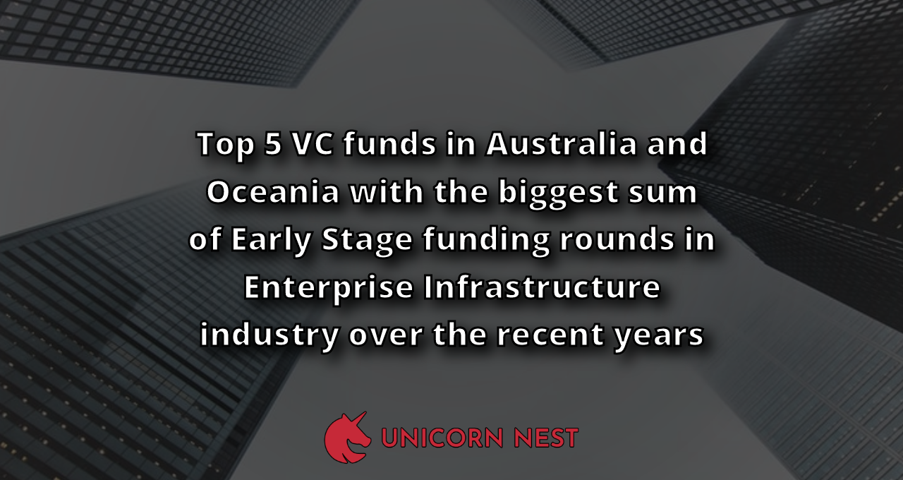 Top 5 VC funds in Australia and Oceania with the biggest sum of Early Stage funding rounds in Enterprise Infrastructure industry over the recent years