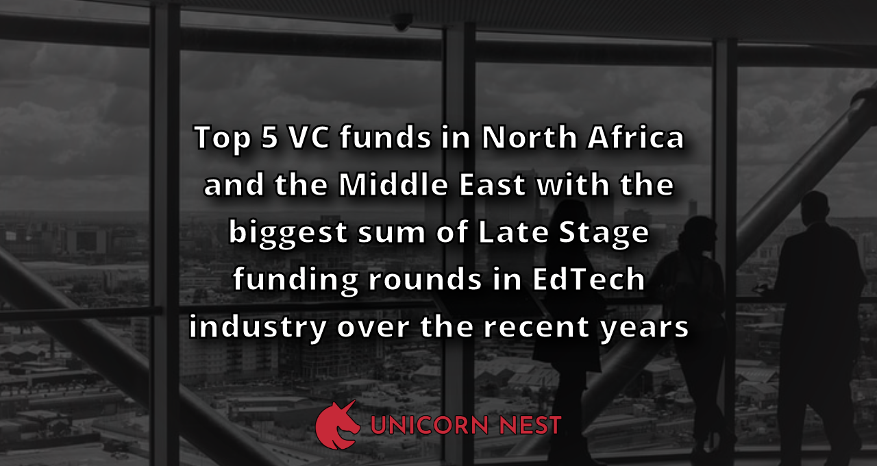 Top 5 VC funds in North Africa and the Middle East with the biggest sum of Late Stage funding rounds in EdTech industry over the recent years