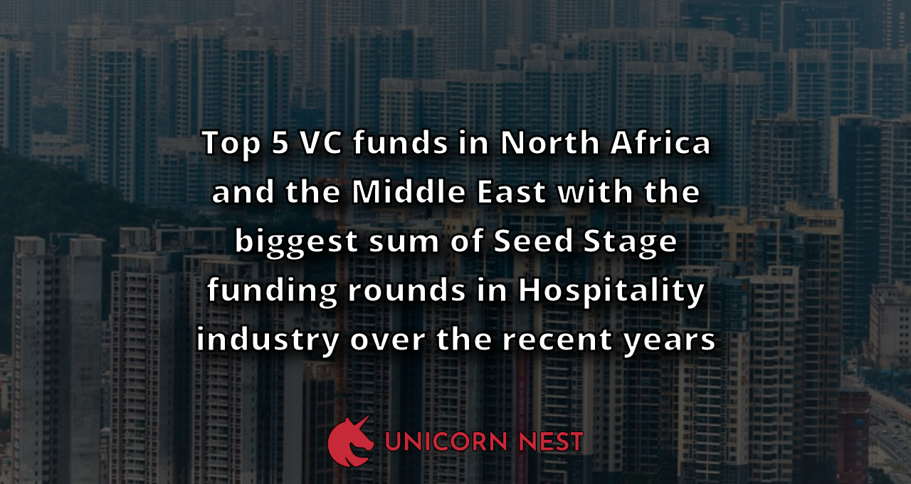 Top 5 VC funds in North Africa and the Middle East with the biggest sum of Seed Stage funding rounds in Hospitality industry over the recent years