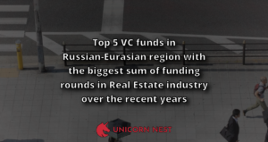 Top 5 VC funds in Russian-Eurasian region with the biggest sum of funding rounds in Real Estate industry over the recent years