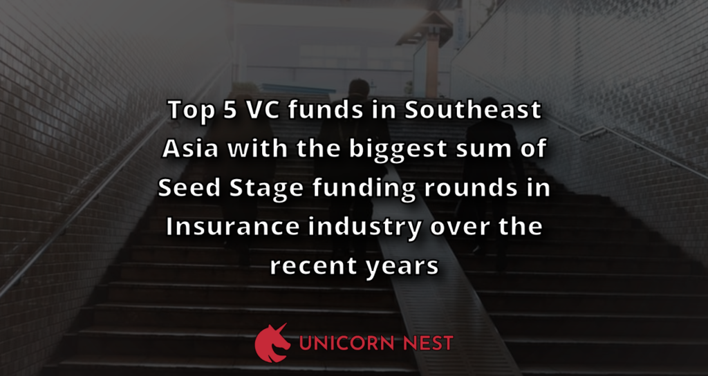 Top 5 VC funds in Southeast Asia with the biggest sum of Seed Stage funding rounds in Insurance industry over the recent years