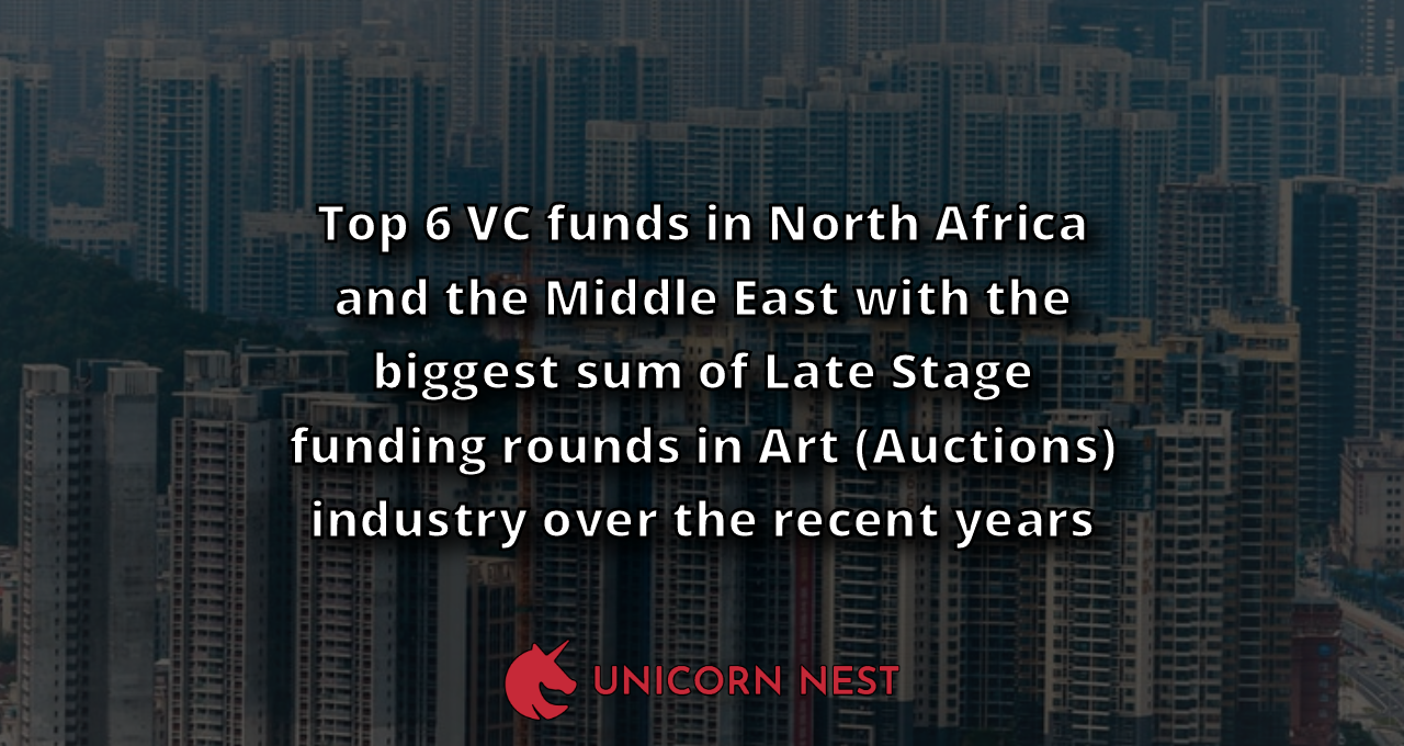 Top 6 VC funds in North Africa and the Middle East with the biggest sum of Late Stage funding rounds in Art (Auctions) industry over the recent years