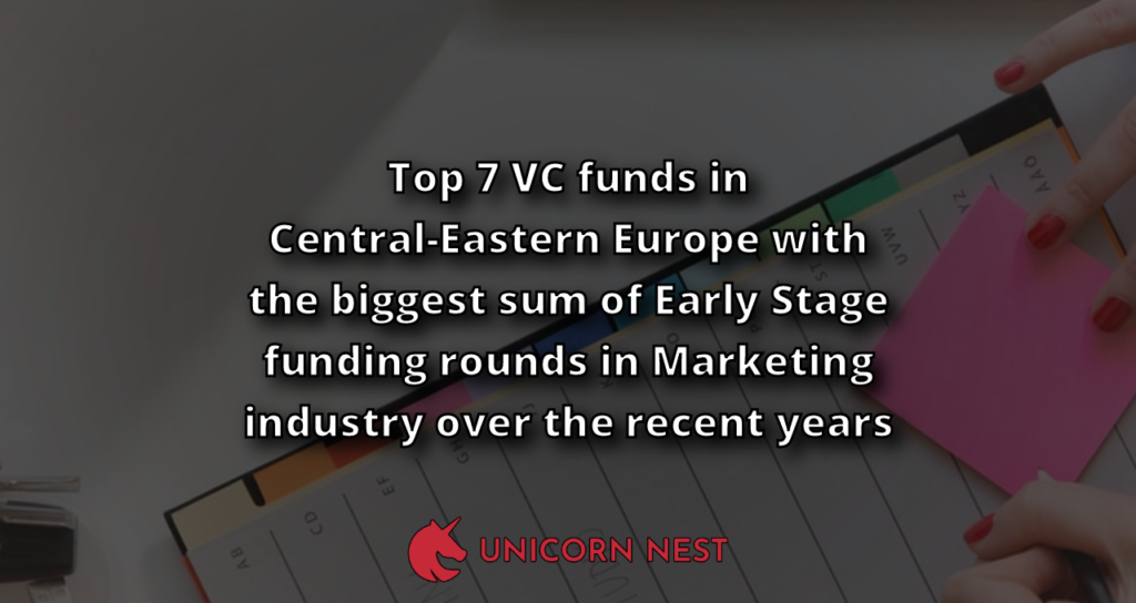 Top 7 VC funds in Central-Eastern Europe with the biggest sum of Early Stage funding rounds in Marketing industry over the recent years