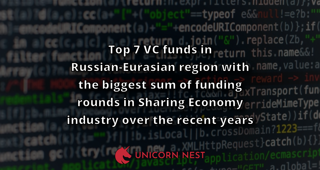 Top 7 VC funds in Russian-Eurasian region with the biggest sum of funding rounds in Sharing Economy industry over the recent years