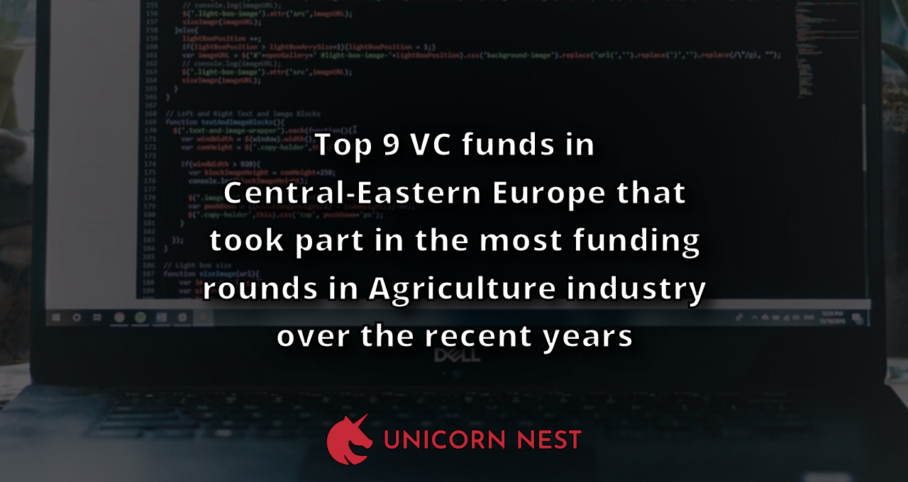 Top 9 VC funds in Central-Eastern Europe that took part in the most funding rounds in Agriculture industry over the recent years