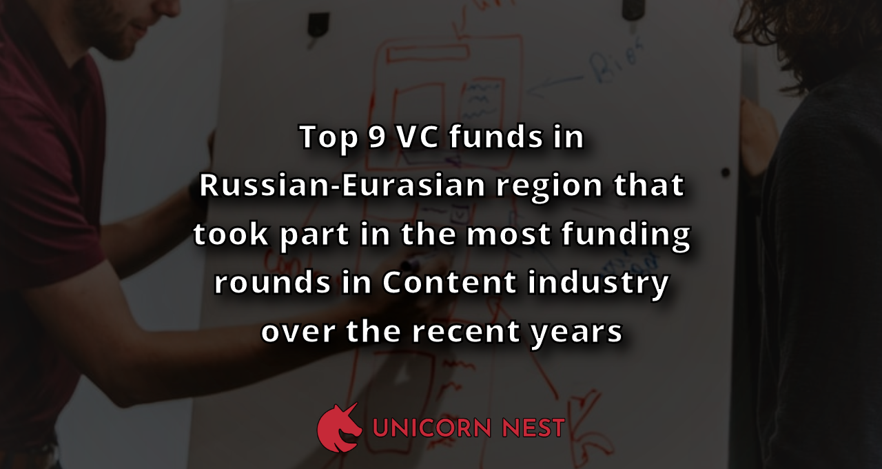 Top 9 VC funds in Russian-Eurasian region that took part in the most funding rounds in Content industry over the recent years