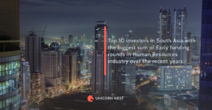 Top 10 investors in South Asia with the biggest sum of Early funding rounds in Human Resources industry over the recent years