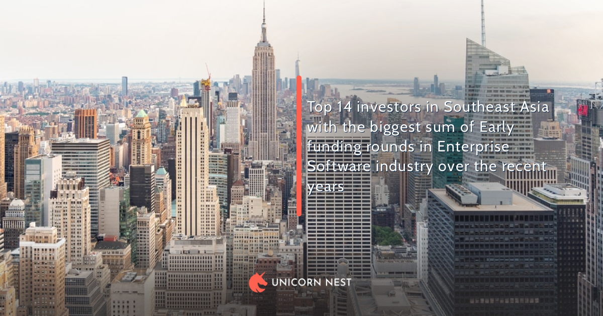 Top 14 investors in Southeast Asia with the biggest sum of Early funding rounds in Enterprise Software industry over the recent years