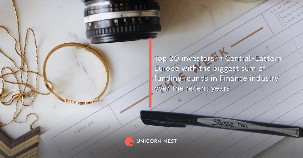 Top 20 investors in Central-Eastern Europe with the biggest sum of funding rounds in Finance industry over the recent years